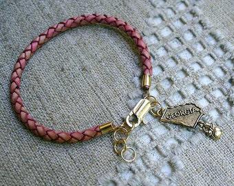 Georgia Braided Leather Bracelet GA US State Charm
