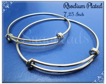 2 Expandable Silver over Copper Wire Bangle Bracelet for Charms 7.25 inch WB3