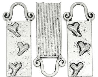 4 rectangle charms/pendants hearts pattern design in metal antique silver plated