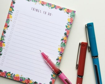 Floral Things To-Do Note Pad