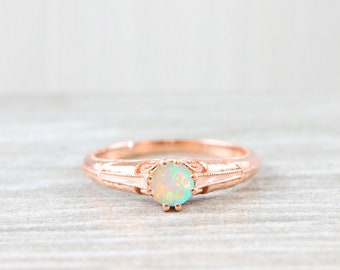 Opal engagement ring art nouveau 1900's inspired in rose gold handmade for her