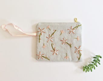 Hand Embroidered Zip Pouch - Pink Asphodel