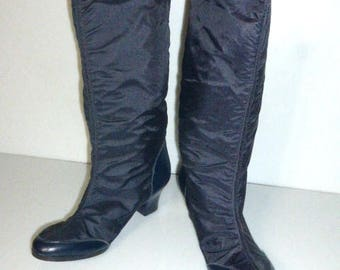 101317sho -- Vintage Woman's SNOW BOOTS Size 5 6 Like New No Name Black Boots Rain Boot Car Boots
