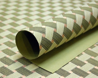 Green basket weave print handmade Wrapping Paper gift wrap set of two large sheets gold