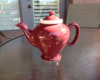 Vintage ceramic burgundy Mc Cormick of Baltimore teapot with infuser-Made in USA