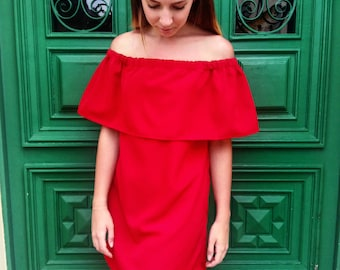 Off the shoulder dress / Red off shoulder dress / Red summer dress / Woman summer red dress / Casual summer dress