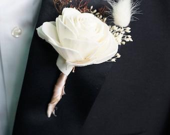 Peaches N Creme Sola Flower Boutonniere// Wood Flower Boutonierre