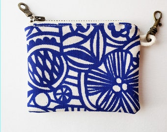 Zippered Coin Pouch: Organic Screenprinted Fabric in Blue