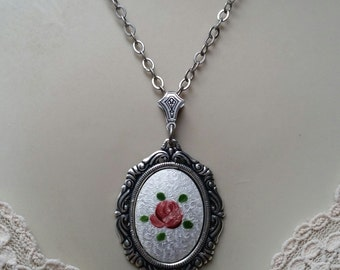 Rare Vintage Guilloche with Enamel Pendant/White and Pink Dresden Rose Pendant/Silver Rose Cameo Necklace/Handmade OOAK Floral Pendant
