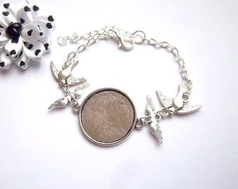 x bracelet silver 25 mm, angel wing and bird ring holder