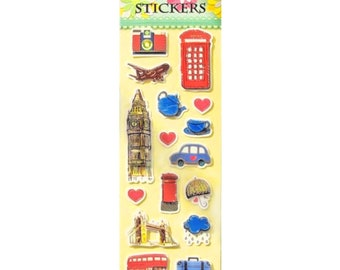 NEW London 3-D Stickers - Gold foil accents - London Bus Big Ben Cab Phone Booth Bridge Rain Tea