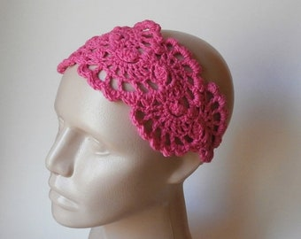 ON SALE 15% OFF Crochet HairBand - Crochet LaceHeadBand - Hair Accessories - Crochet HairBand in Hot Pink
