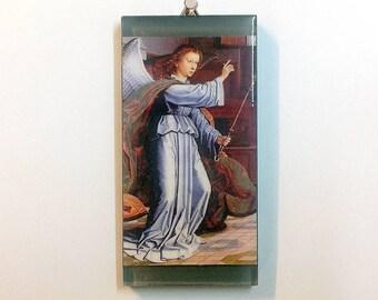 Angel Gabriel art tile, glass tile, to hang or display, colorful