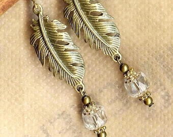 Earrings love ❀PLUMES bronze faceted Czech crystal OR559 ❀