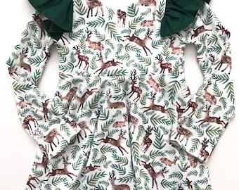 Reindeer christmas holiday twirl dress, toddler baby girl dress