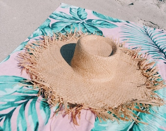 Extra Wide Brim Crocheted Straw Packable Travel Hat Beach hat, straw hat, sunhat.