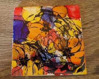 Flower Coasters; Floral; Orange Coasters; Set of 4 Coasters