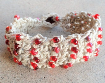 Handmade Crocheted Hemp Bracelet with Red Beads By Distinctly Daisy