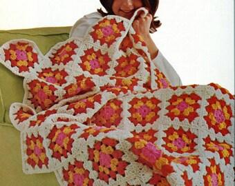 SALE***** CROCHET PATTERN - Retro Granny Square Motif throw/Blanket/Afghan