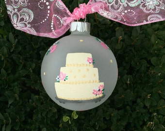 Personalized Wedding Ornament - Wedding Cake -  Hand Painted Christmas Ornament, Wedding Gift, Shower Gift, for Mr and Mrs, Wedding Gift