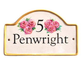 hand painted house plaque, house number, house name plaque on ceramic with border