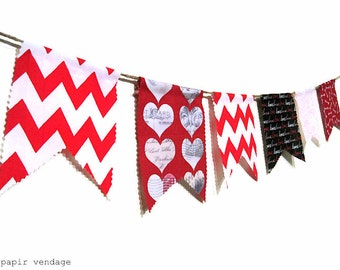 Valentine Bunting Banner, Red & Black Valentine Bunting Banner, Febuary Bunting Banner, Fabric Bunting, Valentines Photography Prop