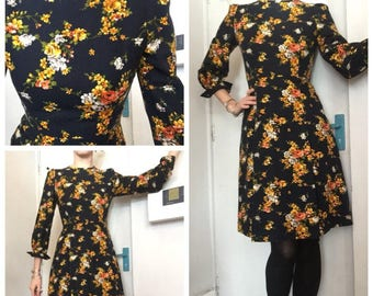 Vintage 60s floral wool dress uk 8/10 navy yellow flowers