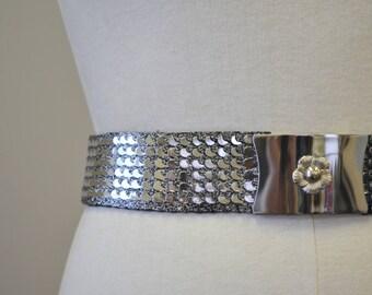 1970s Silver Metal Scales Elastic Belt