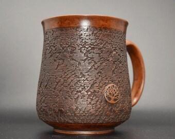 Textured ceramic mug | Brown mug | Polished drinkware | Pottery for kitchen | Unique mug | Pottery mug | Handmade mug | Stoneware mug