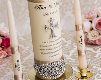 Champagne Unity Candle Set Wedding Unity Candles Champagne Wedding Candle Personalized Unity Candle Cross Unity Candle
