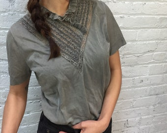 vintage 50s lace top / 1950s gray lace and ruffle blouse / romantic Victorian inspired grey top