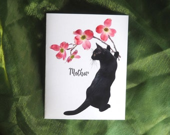 Cat with Pink Dogwood Flowers Printable Mother's Day Card, Digital Cat Mother Card