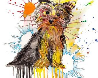 YORKIE  Pet Portrait , original painting, pet portrait , original watercolor painting, custom pet portrait