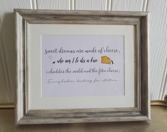 Cheese Lover, word art, text art, quote, framed quote, inspirational quotes, graphic art, friend gift, framed present