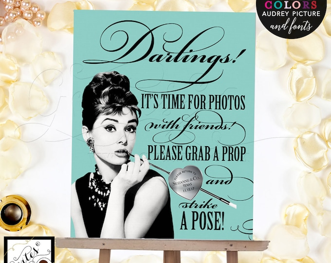 Photo Booth Sign Breakfast at Audrey Hepburn, grab a prop and strike a pose, printable,  CUSTOMIZABLE 8x10. Gvites