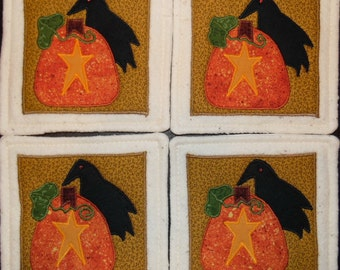 Primitive Whimsical Country Fall Autumn Harvest PUMPKINS CROWS STARS Coasters Mug Mats Scatter Mats Hot Pads Trivets