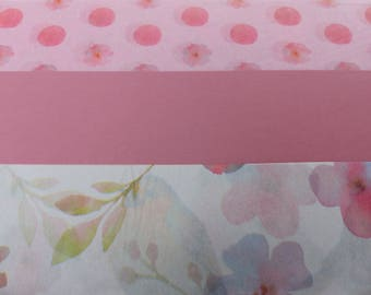 3 sheets of paper decopatch 40 X 60 cm pink flower bird polka dots paper paste