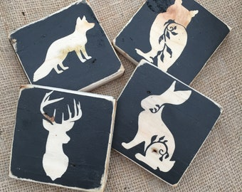 Handcrafted Rustic Upcycled and Reclaimed Animal silhouette Coasters