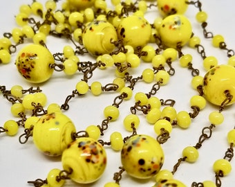 Czech Glass Long Beaded Necklace, Mothers Day Gift, Yellow Floral Hand Made Vintage Jewelry