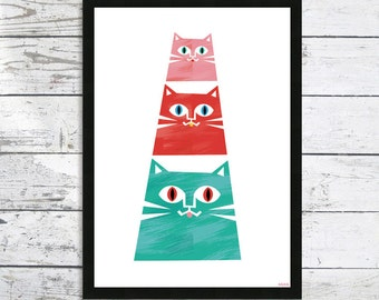 Pyramid of Cats - Cat Decor - Cat lover gift - Cat art print - Cat picture - Cat prints - Cat pyramid - Cute Cats