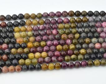 "15.5""  Natural  Tourmaline  Mix Color 6MM Round Bead"