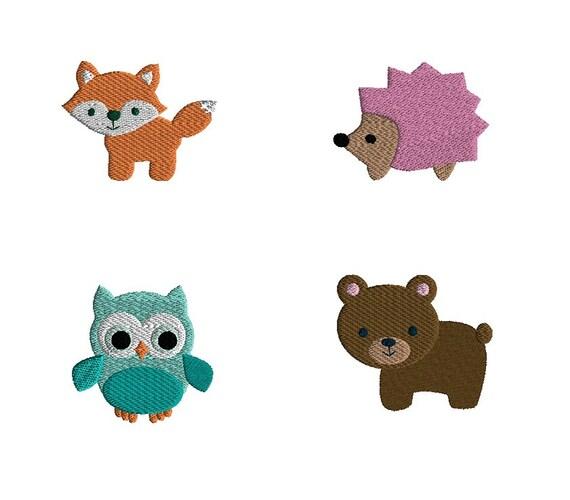 Mini Woodland Animals Machine Embroidery Design Set Instant