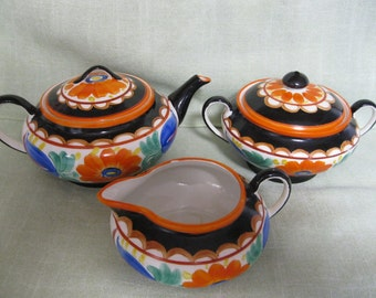 Mrazek Czech Peasant Pottery, Early Black Bird Mark, Teapot, Creamer, and Sugar Bowl,