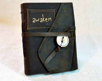 SALE:  Awaken Leather Journal with Recycled Paper-Medium