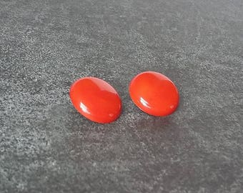 Burnt Orange Button Earrings Circular Clip On Neat Clipons Round Pebble Simple Retro Rockabilly