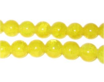 VIBRANT sunshine yellow agate style glass bead 10mm, springtime bead, summertime bead, 10mm bead, scrapbooking supply, jewelry supply