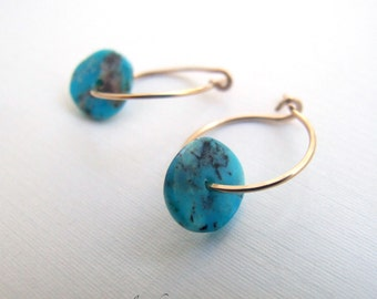 "Turquoise earrings - genuine turquoise hoop earrings gold silver 3/4"" Natural Blue December birthstone Gift"
