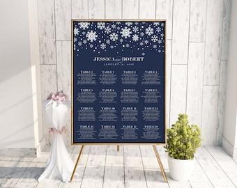 Snowflake Seating Chart, Wedding Seating Chart, DIY Seating Chart, Printable Seating Chart, Seating Chart PDF, Winter Wedding, Navy, Wintry