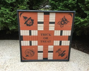 Parcheesi, Halloween, Game Board, Pieced, Wood, Primitive, Game Boards, Wooden, Folk Art, Rustic, Sign, Black Cat, Witch, Pumpkin, Signs,