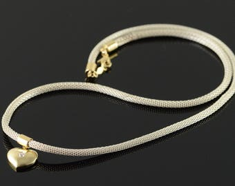 """925/14k Two Tone Mesh Heart Enhancer Necklace Gold 16.25"""""""